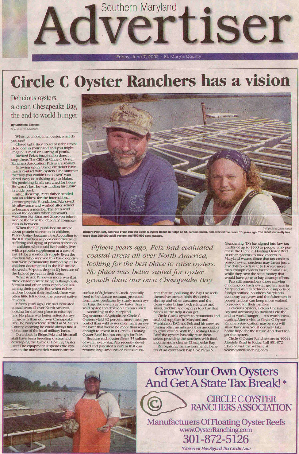 Southern Maryland Advertiser article.
