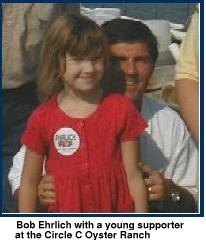 Bob Ehrlich with a young supporter at the Circle C Oyster Ranch